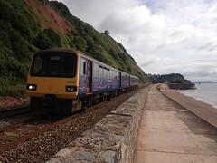 0823 Exmouth to Paignton, between Teignmouth and Dawlish (Ulleskelf) Tags: teignmouth devon englishchannel great western railway class 143 pacer 143618 dmu