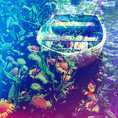 Hazy Lazy Summer Days (Lemon~art) Tags: boat flower wildflower river riverside rowingboat summer mood colour toned manipulation photomontage layers blend common fleabane relaxing calm peaceful