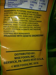 Produced with genetic engineering, bitches!!!! (talulahgosh) Tags: gmo gene food snacking wise ge label nutrition