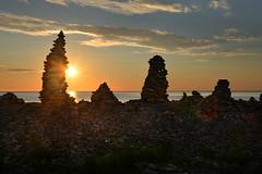 Holy Island stacks (pentlandpirate) Tags: sunsrise dawn holyisland lindisfarne stone pebble stack towers