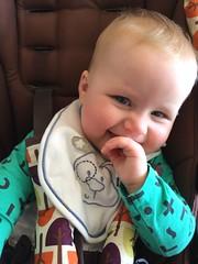 Happy (kayatkinson-simson) Tags: kane 7monthsold lunchtime bib mamaspapasstroller