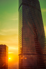 1812-1 (i.gorshkov) Tags: urban travel architecture moscow city skyscraper sunset sun sky clouds orange horizon beautiful view hotel room indoor outdoor business dawn evening building cityscape blue