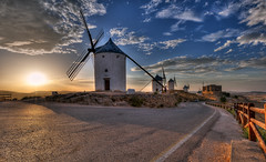 Don Quixote's Giants (Frags of Life) Tags: castillalamancha lamancha spain architecture buildingexterior builtstructure castle colourimage consuegra cultures day famousplace focusonforeground horizontal lifestyles locallandmark outdoors photography toledoprovince tradition traveldestinations wind donquixote donquixoteswindmills traditionalwindmill tranquility sunset castillodeconsuegra windmills