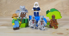 The farmer discovered some zombies living in a barn stall and enlisted some help getting rid of them (Busted.Knuckles) Tags: home toys lego minifigures farmer gargoyle taskmaster zombies olympusomdm10mkii olympusviewer3
