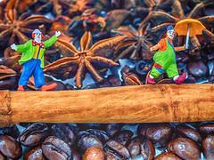 Aromatic Acrobatics (Explored) (Fun@365) Tags: thefirstletterofmyname macromondays mondays cinnamonsticks coffeebeans staranise cloves cardamon clowns macro colour acrobatics circus tabletop preiser