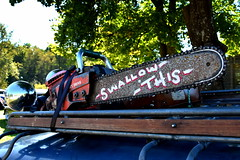 Swallow this. (Papa Razzi1) Tags: 7963 2016 254365 swallowthis chainsaw whysoserious hilarious autumn september carmeet classiccarsandcustoms2016