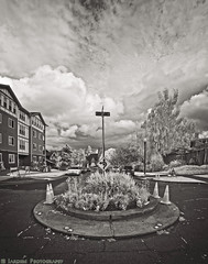Which Way Tacoma (mjardeen) Tags: sony a7ii a7m2 mirrorless tacoma wa washington road street rokinon fe 14mm ƒ28 roundabout sign rokinonfe14mmƒ28 clouds sky ir infrared bw black white blackandwhite 720nm converted lifepixel on1effects on1 landscapesshotinportraitformat landscape