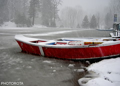 RED BOAT (PHOTOROTA) Tags: pakistan red lake snow nature landscape boat nikon flickr snowing soe abid greatphotographers flickraward concordians goldstaraward nikonflickraward flickraward flickrtravelaward photorota besteverdigitalphotography