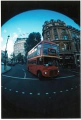 Bus (dana_hun) Tags: bus london square trafalgar fisheye routemaster doubledecker
