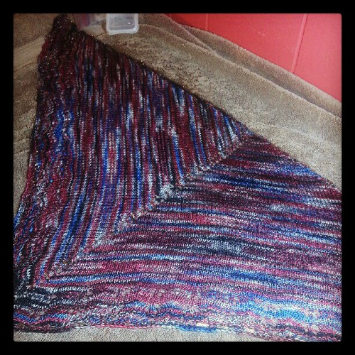 Pinned out the Oaklet shawl tonight.