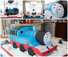 Thomas the Cake...er..Train (Christina's Dessertery) Tags: birthday boy girl cake train toy carved shaped thomas fondant christinasdessertery