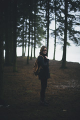 out for adventure (daphne og.) Tags: autumn winter portrait white selfportrait green nature fog forest self canon project landscape 50mm woods bokeh walk magic 14 foggy days adventure backpack 365 magical markii