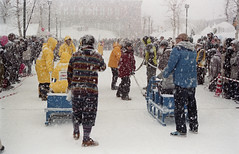 Sled race (threepinner) Tags: snow japan canon ae1 iso400 tokina negative   hokkaidou iwamizawa northernjapan sledrace  60300mm   dokayukimatsuri snowfstival