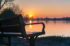 A Photo to Compensate the Previous Post (shilbill) Tags: sunset sun lake water silhouette bench golden goldenhour rickmansworth aquadrome d3100 nikond3100