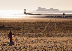 Beachcombing (Explored) (Bev Goodwin) Tags: england liverpool ironman crosby antonygormley rnli merseyside beachcombing anotherplace ironmen crosbybeach