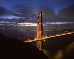True Blue Golden Gate Bridge (RZ68) Tags: city morning bridge blue light sky tower 120 mamiya film skyline clouds sunrise dawn golden bay gate san francisco long exposure marin north battery velvia hour headlands 6x7 spencer provia rd rz67 ggnra e100 conzelman rz68 conzelmen