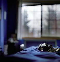 The best stories between old friends are the ones nobody else knows (Zeb Andrews) Tags: camera portrait film oregon analog portland bed bedroom pdx athome pentaconsixtl nikonfm2n bluemooncamera