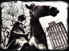 Cloaked Horseman (firstnameunknown) Tags: camera urban sculpture horse art monochrome statue modern bristol blackwhite clarity publicart hdr equine popcam rupertstreet lewinsmead cloakedhorseman davidbackhouse prohdr iphoneography photoforge photoforge2