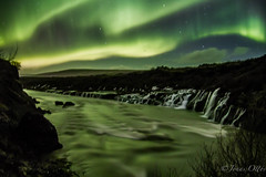 Aurora Waterfall - Hraunfossar baair norurljsum (Jonas Ottos) Tags: longexposure sky reflection green nature water night river landscape waterfall iceland northernlights auroraborealis hraunfossar sigma1750 stunningskies canon7d