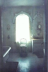 1713--Bathroom, 1983 (Magnaverde) Tags: bathroom rustic shabbychic whitewashedwalls paintedfloor