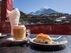 A perfect morning (EverExplore) Tags: nepal bazaar himalaya cappuccino strudel thamserku namche