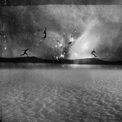 Conspiracy (Beata Rydn) Tags: blackandwhite collage clouds jump jumping space beata fineartphotography photographicartist beatarydn