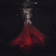 to bloom in silence (brookeshaden) Tags: red flower water underwater wind bubbles silence bloom drown billow redfabric wppi brookeshaden brookeshadenphotography