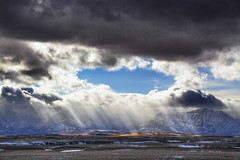 Waterton Feb 16 13_MG_1144 (sloppyshooter) Tags: winter foothills mountains clouds bluesky sunbeams godrays watertonlakesnationalpark southernalberta