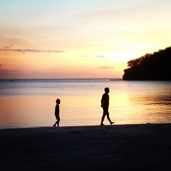 The walk of life (Mark Garcia) Tags: sunset red sea people beach water sand asia walk father philippines son dakak