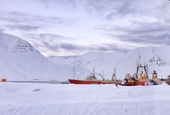 Fishing boats in lafsfjrur(Northern Iceland. Gustavo Thomas  2013) (Gustavo Thomas) Tags: winter snow nature landscape iceland barcos vessel arctic fjord fishingboat sland naturelovers lafsfjrur northerniceland uploaded:by=flickrmobile flickriosapp:filter=nofilter