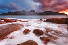 The Hazards (stevoarnold) Tags: ocean blue sunset sky seascape mountains water clouds sunrise nationalpark rocks purple australia tasmania freycinet thehazards colesbay