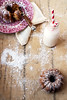 Lemon Coconut Bundt Cake (saraghedina) Tags: china wood pink stilllife canon vintage 50mm milk vegan bottle lemon silverware coconut straw plate fork pottery dusting kitchenware powderedsugar foodphotography veganomicon 100vegan
