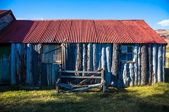 Old Shack (Spook the cat) Tags: wood old blue red west building scotland saturated unitedkingdom ruin shack tinroof