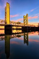 Tower Bridge Sunset (boingyman.) Tags: bridge sunset reflection yellow towerbridge landscape cityscape sac sacramento scape sacramentoriver boingyman