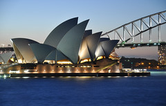 Sydney Opera House (marin.tomic) Tags: city travel roof light sunset urban detail water architecture night lights bay nikon view harbour sydney australia icon illuminated nsw sail newsouthwales bluehour sight australien frontpage iconic harbourbridge downunder sydneyoperahouse d90