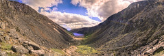 Glendalough Valley Panorama (fearghal breathnach) Tags: sky panorama mountain lake color beautiful clouds view panoramic hills glendalough valley vista wicklow hdr spink beautifulshot glendaloughlake glendaloughvalley