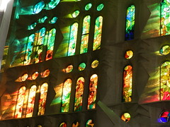 Sunshine glow in Sagrada Familia (cristinabaghiu) Tags: barcelona light window glass architecture nikon europe colours stainedglass gaudi sagradafamilia lpglow