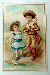 VICTORIAN TRADE CARD  CORDOBA COFFEE TRADE CARD PITTSBURGH CUTE BOY & GIRL WITH TOY BOATS (oldsailro) Tags: park old boy sea summer people sun lake playing cute beach water coffee pool girl sunshine youth sailboat race vintage children fun toy boats boat miniature wooden pond model waves pittsburgh sailing ship child with time yacht antique group victorian boom card cordoba regatta mast hull spectators trade watercraft adolescence keel fashioned