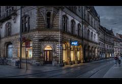 Marktplatz - Ecke Schmeerstrae (p h o t o . w o r l d s) Tags: hallesaale sachsenanhalt deutschland fujixt10 photoworlds marktplatz schmeerstrase hdr tonemapping photomatix eveninglight abendlicht