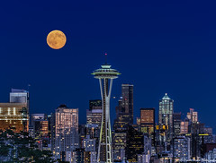 Seattle and Moon. (PrachiVerma) Tags: seattle downtown washington canoneos6d f4556lisusm night nightscape city cityscape travelphotography westseattle emeraldcity building bluehourseattle bluesky full moon