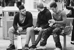Leeds Summer 2016 (Blinkles) Tags: leeds blackandwhite streetphotography people signs arcade shops benches theheadrow cornexchange metropolehotel queenshotel beards clocks trains callslanding skateboards skaters pigeons feeding steps hats stairs doors cobbles