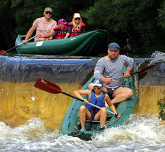23.8.16 Vyssi Brod Weir 063 (donald judge) Tags: czech republic south bohemia vyssi brod weir boats rafts canoes river vltava
