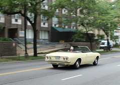 Chasing Summer (Flint Foto Factory) Tags: chicago illinois urban city summer august 2016 north edgewater saturday afternoon noon 1966 1967 chevrolet chevy corvair monza convertible buttercup yellow moving motion inmotion drop soft rag top classic generalmotors gm sporty compact threequarter view rearengine ralphnader nadir neighborhood worldcars