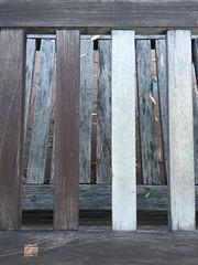 SunShield vs. Entropy (jjldickinson) Tags: longbeach wrigley appleiphone6plus wood bench sunshield weathering