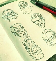 Drawing heads (Marcos D. Torres) Tags: illustration drawing draw illustrator watercolor india ink character design designer eyeball eye sketchbook sketches sketch black white paper pen pencil mechanic block panda bulbasaur pokemon diver woman portrait true detective ray velcoro hbo series uncle grandma realistic realismo head stink skull marcos torres comic book
