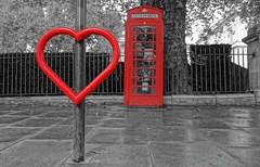 Heart of London (Westhamwolf) Tags: london city black white red phone box heart colour pop england