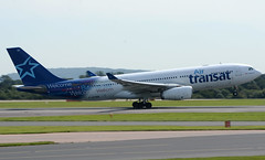 Air Transat A330-243 C-GTSR. 23/08/16. (Cameron Gaines) Tags: cn966 originallyorderedbyxlairwaysgxlxafirstflewattoulouseblagnaconthe29thofoctober2008asfwwyppriortobeingdeliveredtomexicanaonthe26thofnovember2008asxamxpandleasedfromcititwaswithdrawnfromusedandstoredatmexico garudaindonesiaandaircaraibesascgtsritwasreturnedtoairtransatfromaircaraibesonthe16thofapril2016afterawinterlease air transat airbus a330243 cgtsr departing back torontopearson 230816 mexicana avgeek manchester airport airfiel man egcc yyz 23r fwwyp toulouse blagnac france a330 a330200 cit xl airways gxlxa painted aero av8 aviation canadian affair canada 2008 2016 2010 xamxp mexican returned caraibes originally ordered taken up ntu