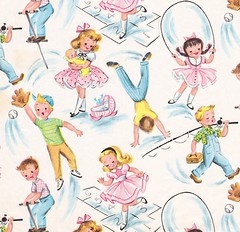 Vintage Gift Wrap Children Playing - circa 1950s (hmdavid) Tags: vintage gift wrap wrapping paper giftwrap wrappingpaper midcentury art illustration birthday whitman juvenile children party design 1950s happybirthday boys girls boy girl fishing baseball hopscotch jumprope pogostick handstand