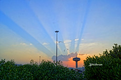 Water Tower (haidarism (Ahmed Alhaidari)) Tags: water twoer madina saudiarabia saudi arabia sunset cloud plant sky blue bluesky oudoor nature sonya65 depthoffield panorama view scene creation creative create art artisitic ngc travel tourist tourism