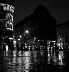 Vienna at night, Cool even in the rain (MoonDog (Life is Beautiful)) Tags: bw blackwhite blackandwhite rain street reflections night light monochrome austria vienna